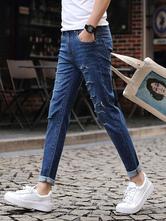 Jeans uomo in denim blu chiari jeans lungi al polpaccio monocolore casuale