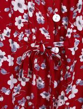 ... Vestito lungo borgogno in chiffon senza spalline maniche corte  annodature stampa floreale con fondo asimmetrico donna 571983f69c3