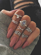 Boho Knuckle Rings Silver Embossed Hollow Out Gems Jewled Women's Vintage Rings Set In 7 Pieces