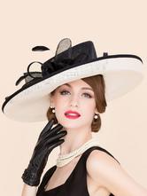 Costume Carnevale Cappello artistico pizzo a fiori elegante per adulti di lino film