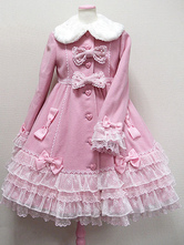 Rococo Lolita Coat Lace Trim Fur Collar Bow Decor Ruffles Pink Lolita Winter Coat