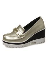 Zapatos Mocasín de puntera redonda slip-on de tacón de cuña Color liso para ocasión informal estilo informal para mujer