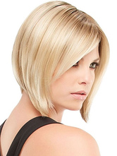 Women Blonde Wigs Side Parting Short Straight Human Hair Wig