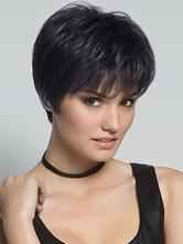Parrucca capelli veri donna nera corti & fanciulleschi stratificata da 8 pollici