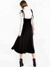 ... Vestito lungo nero di poliestere bretelle smanicato con annodature  monocolore scollato sulla schieno per ragazze ... c19e7178773