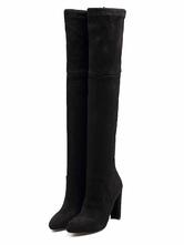 Botas altas mujer negro  con pala de ante de tacón gordo de puntera puntiaguada 10.5cm Color liso Invierno con cinta para pasar por la noche