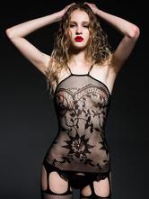 Black Sexy Bodystocking Semi Sheer Jacquard Cut Out Women's Hosiery