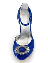 Zapatos Tacón bobina de punter Peep Toe de satén azul de lujo Fiesta de bodas KNx0ndEO