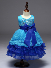 Flower Girl Dresses Princess Blue Lace Sequin Ruffles Tiered Ribbon Bow Kids Pageant Dresses