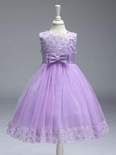 Vestito Damigella bambina Princess Lilla Purple Lace Tulle Ribbon Bows Kids Tutu Vestito da Festa