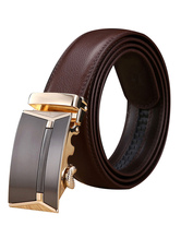Men's Brown Belt Genuine Leather Metal Detail Business Waistband