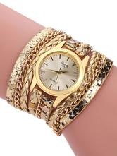1552d68cb35 Relógios de moda de ouro Dial Dial Metal Alloy Band Relógio de pulso  analógico de quartzo