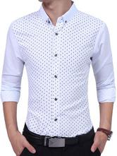 Camisas Casuais Branco 2021 Turndown Collar Manga Longa Polka Dot Slim Fit Camisa dos homens