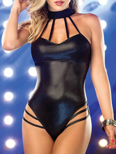 Black Sexy Teddies Cut Out Polyester Backless Women's Lingerie