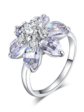 Silver Women's Rings Flower Cubic Zirconia Alloy Chic Jewelry