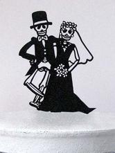 Cake Toppers Black Acrylic Gothic Bridegroom And Bride Halloween Wedding Decorations