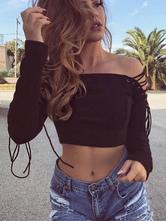 Cotton Crop Top Off The Shoulder Lace Up Long Sleeve Women's Black Top