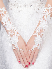 Ivory Wedding Gloves Lace Elbow Length Fingerless Pearls Flowers Bridal Gloves