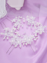 Белый Свадебные головные уборы Цветы Волосы Штыри Жемчуг Свадебные аксессуары для волос 1 шт.