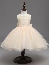 Champagne Flower Girl Dresses Tutu Kids Formal Dresses Keyhole Lace Bows Tulle Princess Dinner Party Dresses