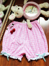 Sweet Lolita Trousers Lace Ruffles Bows Plaid Pink Lolita Shorts