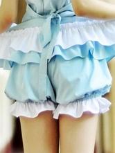 Pantalones cortos de 100% algodón de dos tonos con volante fruncido estilo clásico