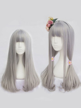 Harajuku Lolita Wigs Light Grey Long Straight Blunt Bangs Curls At Ends Synthetic Hair Wigs