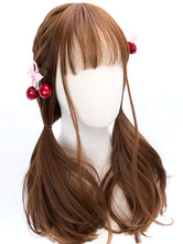 Classic Lolita Wigs Deep Brown Long Straight Blunt Bangs Curls At Ends Synthetic Hair Wigs