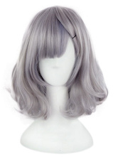Harajuku Lolita Wigs Light Grey Short Side Bangs Curls At Ends Synthetic Hair Wigs