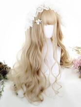 Peluca de Lolita de fibra resistente al calor Color ligero de oro
