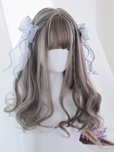 Sweet Lolita Wigs Flaxen Long Curly Blunt Bangs Spiral Curls Grace Synthetic Hair Wigs