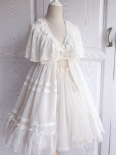 Sweet Lolita Cover Ups Lace Ruffles Chiffon V Neck Short Sleeve White Lolita Cover Up