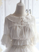 Sweet Lolita Blouses Peter Pan Collar Half Sleeve Chiffon Lace Ruffles White Lolita Top
