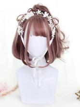 Sweet Lolita Wigs Deep Brown Short Blunt Bangs Curls At Ends Adeline Synthetic Hair Wigs