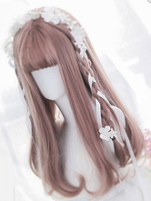 Sweet Lolita Wigs Tan Long Straight Blunt Bangs Curls At Ends Letitia Synthetic Hair Wigs