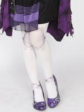 Chaussettes lolita blanches en velours impression imprimé fleuries