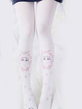 Sweet Lolita Pantyhose Cat Printed White Lolita Tights