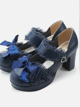 Sweet Lolita Shoes Dark Navy Lace Square Toe Bows PU Chunky Heel Lolita Pump Shoes