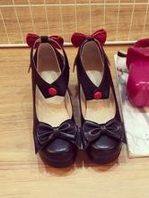 Sweet Lolita Shoes Black Chunky Heel Bows Two Tone Square Toe PU Lolita Pump Shoes