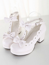 Sweet Lolita Shoes White Chunky Heel Square Toe Bows PU Lolita Pump Shoes
