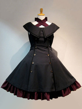 ゴスロリ軍服JSK ジャンパースカート スリーブレス アイドル衣装 ラッフルダブルブレスト ブラック ロリータワンピース