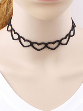 Süße Lolita Halskette mit Herzmuster Suede Textile Accessoires in Schwarz für Alltag mit Choker