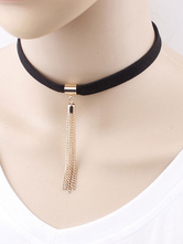 Gothic Lolita Choker Fringe Two Tone Alloy Gold Lolita Necklace