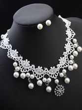 Lolita Jewelry Set Lace Pearls Alloy White Necklace With Ear Stud For Lolita Wedding Dress
