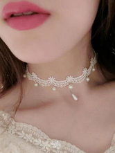Classic Lolita Choker White Lace Pearls Lolita Necklace