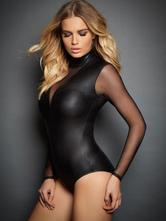 Black Sexy Teddies Women's Tulle Patchwork Bodysuit