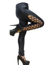 Black Club Pants Sexy PU Lace Up Long Skinny Pants For Women