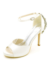 Zapatos de tacón de stiletto de punter Peep Toe de satén de lujo Fiesta de bodas hotNe