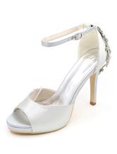 Zapatos de punter Peep Toe de tacón de stiletto de satén con pedrería de lujo Fiesta de bodas Hz4l1t