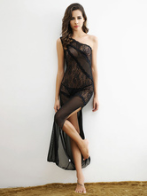 Black Gowns Set Lace Split Asymmetrical Sexy Long Dress With T Back For Women